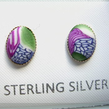 Polymer clay stud set in sterling silver £12