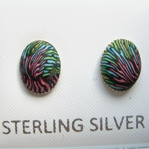 Polymer clay stud set in sterling silver