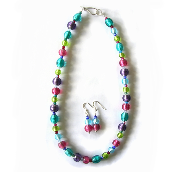 Glass beaded necklace with sterling silver