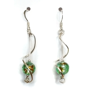 Glass bead and sterling silver twirly wire earrings