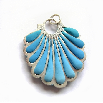 Polymer clay pendant with sterling silver
