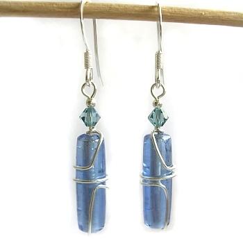 Beaded sterling silver twirly wire earrings
