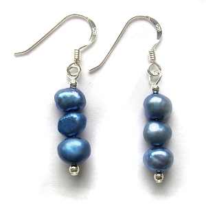 Fresh water pearl and sterling silver earrings