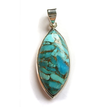 Mohave turquoise and sterling silver pendant
