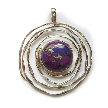 Purple Mohave turquoise and sterling silver pendant