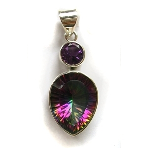 Amethyst & mystic quartz pendant