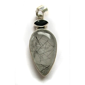 Tourmalated quartz, black onyx & sterling silver pendant