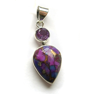 Amethyst, purple mohave turquosie & sterling silver pendant £29