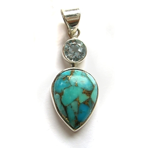 Blue topaz, mohave turquoise and sterling silver pendant