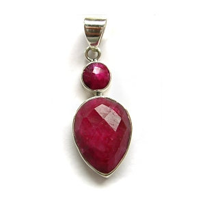 Ruby quartz and sterling silver pendant