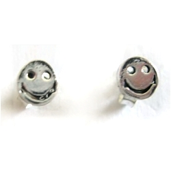 Smiley face sterling silver studs