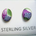 Polymer clay stud earrings set in sterling silver
