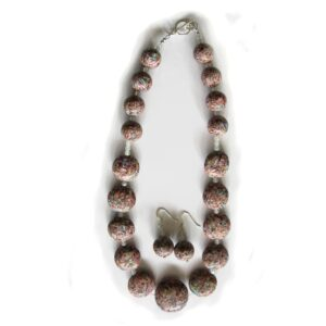 handcrafted Polymer clay necklace and earrings set with sterling silver
