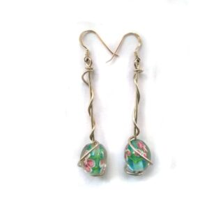 Glass beaded earrings with swirls of sterling silver