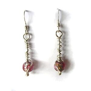 Flowery beaded glass earrings