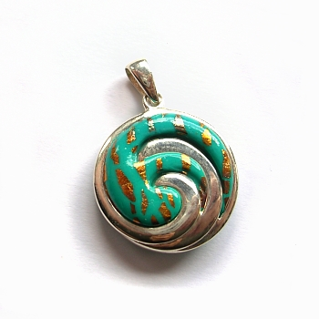 Polymer clay & sterling silver pendant