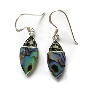 Paua shell, marcasite & sterling silver earrings