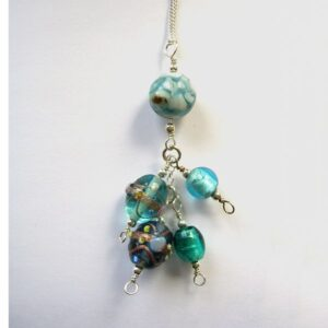 blue beaded pendant with glass beads and sterling silver