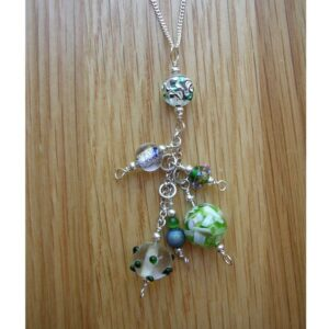green and blue glass beaded pendant with sterling silver