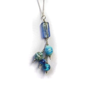 blue glass beaded pendant necklace with sterling silver