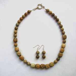 Picture jasper necklace and earrings set