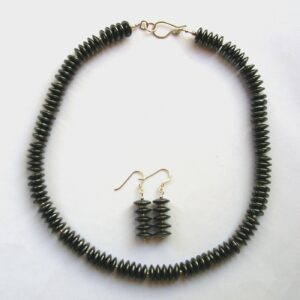 Hematite and sterling silver necklace and earrings