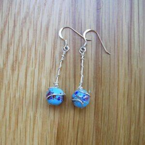 Blue beady earrings