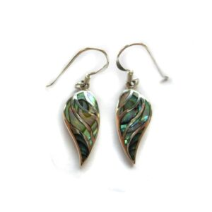 Paua shell leaf earrings