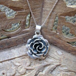 Sterling silver antiqued rose flower pendant
