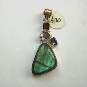 Labradorite, garnet, amethyst and topaz pendant set in sterling silver